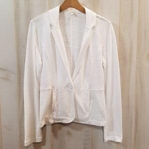 Caslon Nordstrom White One Button Blazer M Cotton